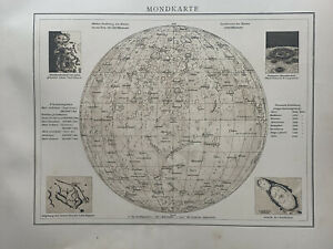 1899 Moon Chart Original Antique Map by Richard Andree