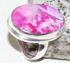 Strawberry Pink  Dendrite Opal Handmade  Ring Size-9.75