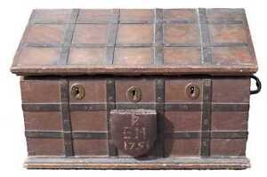 Mid 18thC English Antique Oak Iron Bound Box Strong Box Bible Box, C.1751 Chest