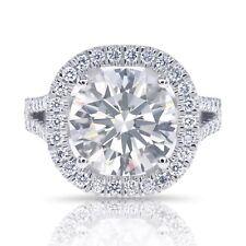 TEST DON'T BUY Halo CUSHION CUT Vintage engagement Ring 14k WHITE GOLD