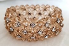 Bridal Pink Faceted Crystal Beads Prong-set Rhinestone Stretch Cuff Bracelet
