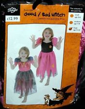 Girls Reversible Witch Costume Good/Bad Witch Halloween FairyTale Fancy Dress
