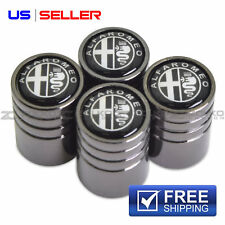 ALFA ROMEO VALVE STEM CAPS WHEEL TIRE BLACK - US SELLER VE52