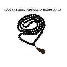 Black Rudraksha Rudraksh Mala 7-8mm Beads-108+1 Beads Japa/Mala 100% Natural