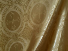 BAROQUE GOLD SATIN JACQUARD LITURGICAL FABRIC CROSS REVERSIBLE BROCADE CLERGY