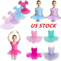 US Girls Ballet Dance Tutu Dress Gymnastics Skating Leotard Skirts Gym Dancewear
