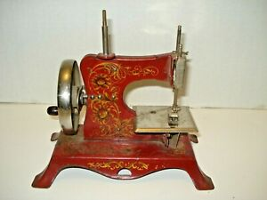 Vintage Antique Child's Manual Sewing Machine Germany Floral Pattern