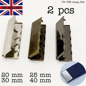 2x Metal Belt Buckle End Tip Webbing Tag Bag Military