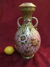 Large  Moriage Vase Urn 2 Handles Fishnet Artist Signed