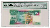 SINGAPORE banknote 5 Dollars 1989. PMG MS 66 EPQ