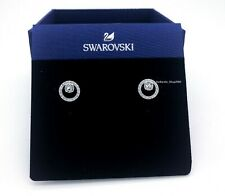 Authentic  SWAROVSKI Rhodium White Crystal Circle Pierced Stud Earrings 5201707