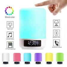 Alarm Clock Bluetooth Speaker Colorful LED Wake Up Night Light Bedside Lamp HOT