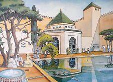 EXPO COLONIALE 1931 ART DECO PAVILLON du MAROC Aquarelle Dessin Architecture E.O