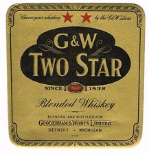 1930s Detroit Michigan Gooderham Worts Two Star Whiskey Label Tavern Trove