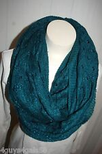 TEAL GREEN INFINITY COWL SCARF Crocheted & Textured JERSEY KNIT Warm 29x74