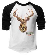 Men's Mossy Oak Camo Deer White Baseball Raglan T-Shirt Outdoors Hunting Tee