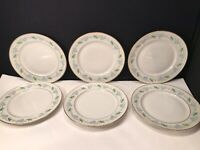 6 ROYAL JACKSON FINE CHINA SALAD PLATES BLUE AND GREEN FLOWER DESIGN  8 1/8''