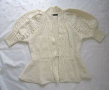 MODA International Puffy Sleeve Wool Blend Off White Cardigan Sweater ~ Size S