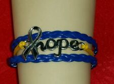 "DOWN SYNDROME HOPE,LEATHER ADJUSTABLE BRACELET-YELLOW/BLUE 6 1/2""-8 1/2"" - #15"
