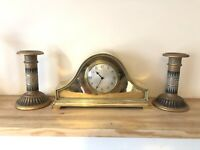 ANTIQUE SILVER PLATED / BRASS W. GREENWOOD & SONS LEEDS & HUDDERSFIELD CLOCK