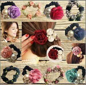 U.K New Elastic Floral Ribbon, Rose Flower & Pearl Hairband Ponytail Holder