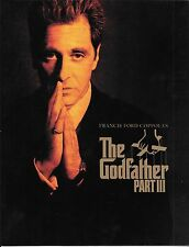 THE GODFATHER Part III  Premiere Program - Al Pacino, Francis Ford Coppola- 1990