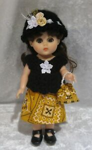 """Made to fit 8"""" GINNY Vogue  #127 Top, Hat, Skirt & Purse,  Handmade doll clothes"""