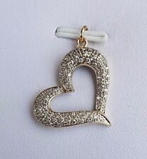 100% GENUINE 9CT Y/GOLD 63 DIAMOND ENCRUSTED HEART PENDANT - BLINGED OUT