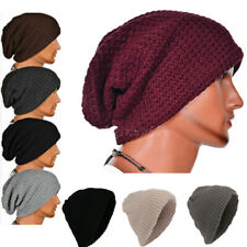 Slouch Beanie Hat Men's Ladies Knitted Crochet Woolly Winter Oversized Ski Cap