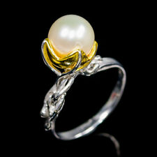 Masterpiece SET Natural Pearl 925 Sterling Silver Ring Size 6.5/R121769