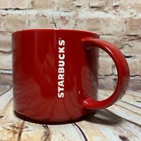 "2012 Starbucks Coffee Mug New Bone China Red & White Collectible 3.5"" Tall 14oz"