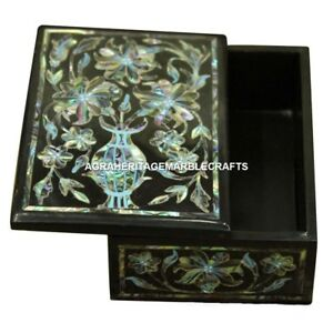 Black Marble Jewelry Storage Box Inlay Creative Work Gift For Girls Decor E65
