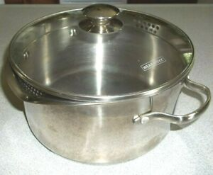 Wear-Ever Stainless Steel 5.5 Qt. Stock Pot 2 Pour Spouts Glass Strainer Lid