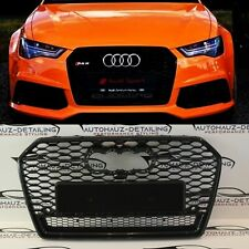 AUDI RS6 STYLE HONEYCOMB MESH GRILL GLOSS BLACK  FOR A6 C7 2010-2014