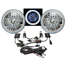 "7"" SMD White LED Halo Angel Eye Headlamp Headlight Pair 6K 6000K HID Light Kit"