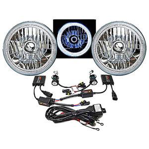 "7"" SMD White LED Halo Angel Eye Headlamp Headlight Pair 6K 6000K HID Light Kit"