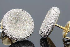.50 CARAT YELLOW GOLD FINISH MENS WOMENS 11mm 100% REAL DIAMONDS EARRINGS STUDS