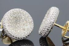 .50 CARAT YELLOW GOLD FINISH MENS WOMENS 11mm 100% REAL DIAMONDS EARRINGS STUDS