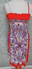 215 9F Vestido de Mujer Mini Verano Talla S Tirantes Multicolor sin Mangas