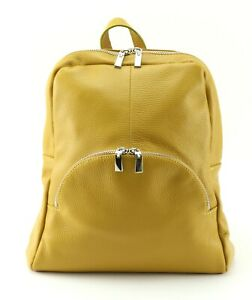 YELLOW leather BACKPACK mustard colour leather rucksack BAG adjustable straps
