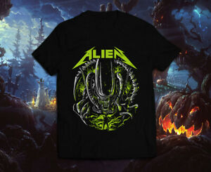 Alien Xenomorph Style Metallica Creepy Nightmare Halloween Horror Scary T Shirt