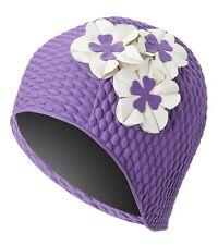 Vintage Style Ladies Purple Floral Bubble Swim Cap with Ivory Flowers Adult New
