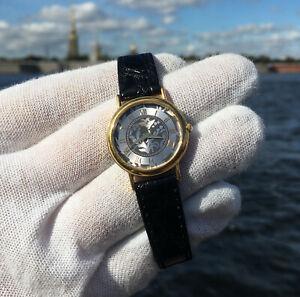 "Women's SEIKO ""1N00-0D59"" Art-Nuvo Dial Quartz Watch Leather Strap Band セイコー"