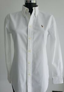 Authentic Ladies Polo Ralph Lauren White Fitted Shirt Size Small Petite - New