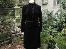 vtg. Bonwit Teller Nipon Coature Black Velvet Mandarin Collar Skirt Suit, Sz 6