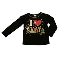 Holiday Time Infant Toddler Girls Black I Heart Santa T-Shirt Tee Shirt