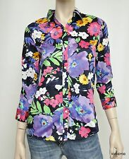 Nwt $89 Ralph Lauren 3/4 Sleeve Button Front Shirt Top Blouse ~Navy/Floral *M