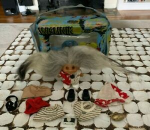 1964 Vintage Ideal Wishnik Caveman Carry Case w Troll Clown Outfits Shoes Camera
