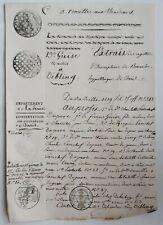 1819+timbres fiscaux+Annulation bouchon+timbre Royal+Dibling+25c et 2/5 en sus