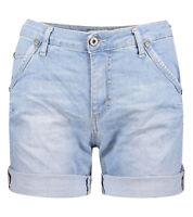 PLEASE Jeans-Short modische Damen Denim-Hose Light-Waschung Freizeit-Hose Blau